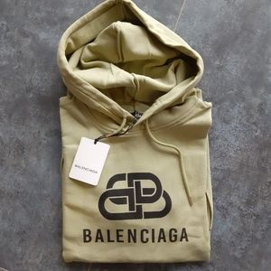 Balenciaga Shirts - BALENCIAGA MENS LIGHT KHAKI COTTON HOODIE SHIRT